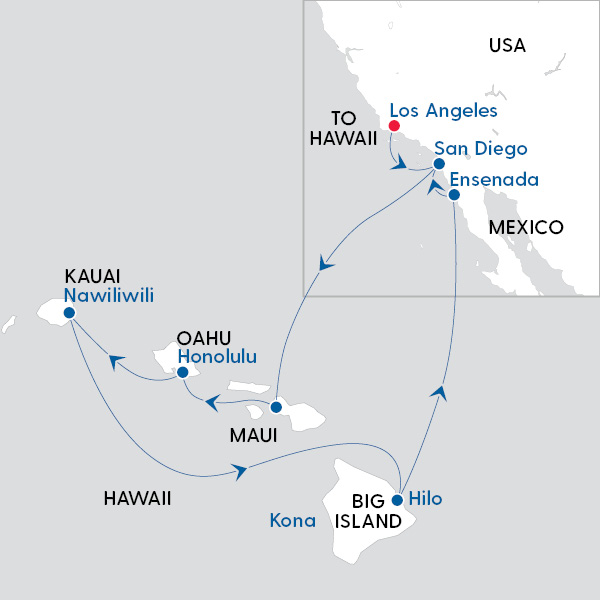 Carnival Cruise Line - LA and Hawaii Miracle - Map of Cruise Route on