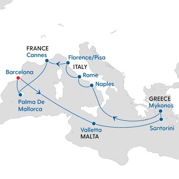 Map Of Spain Italy And France.Epic Spain Italy Greek Isles My Cruises