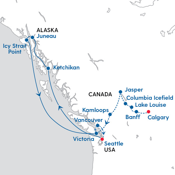 Discover the of Alaska & Canadian Rockies - Map of ... on rockies parking map, himalayas map, ottawa map, canadian highways map, quebec city map, canada map, colorado river map, rocky mountains map, jasper national park map, idaho map, columbia mountains map, british columbia map, vancouver map, alberta map, europe map, montana map, grand canyon map, sunwapta falls map, ontario map, yellowstone national park map,