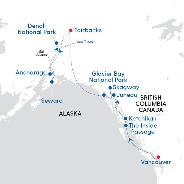 Holland America Line - Alaska & Denali Discovery - Map of ...