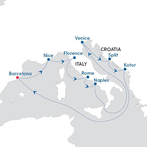 Map Of Spain Italy.Royal Caribbean International Jewels Of Spain And Italy Map Of