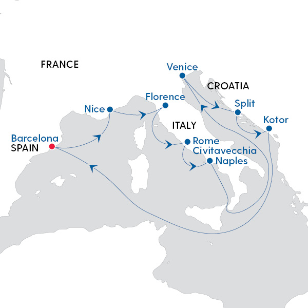Map Of Spain Italy.Royal Caribbean International Journey Through Italy And Spain