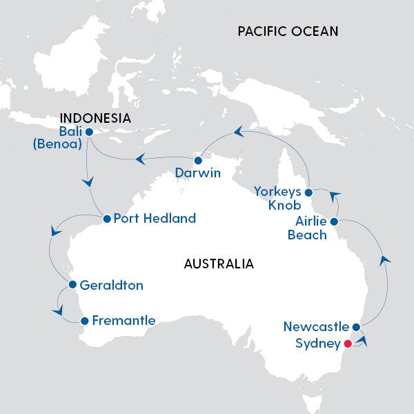 Royal Caribbean International - Australia Top End - Map of
