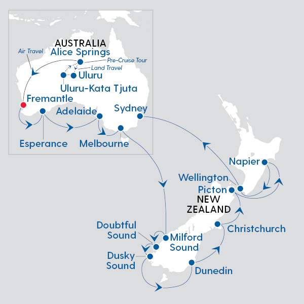 New Zealand Route Map.Royal Caribbean International Ultimate Australia And New Zealand