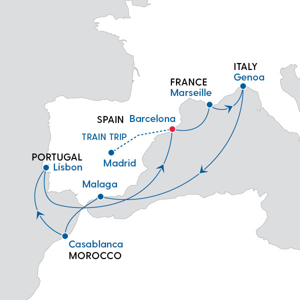 Map Of Spain Portugal And Italy.Msc Cruises Splendours Of Spain Portugal And Morocco Map Of
