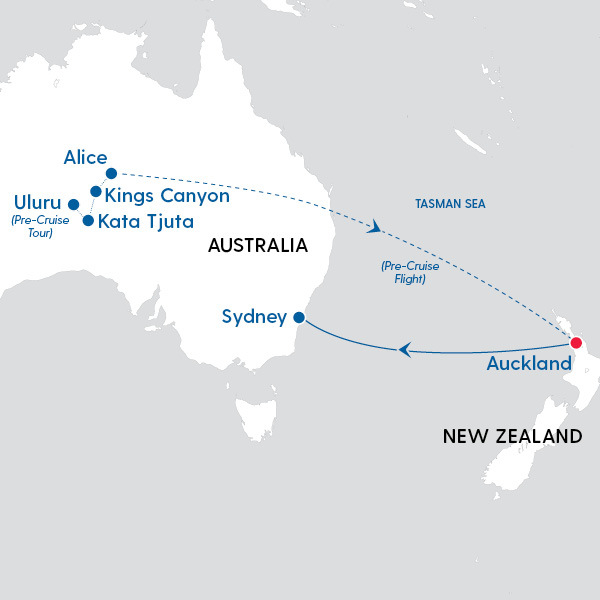 Map Of Australia Showing Uluru.Celebrity Cruises New Zealand To Uluru Map Of Cruise Route My