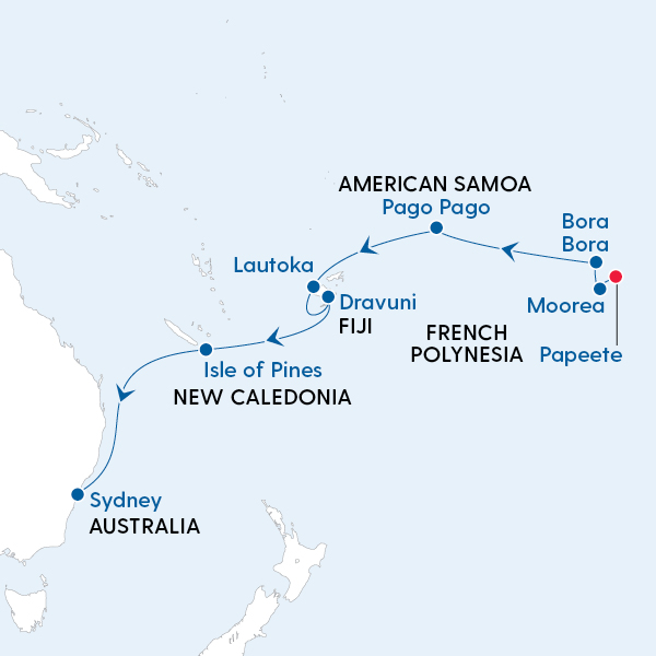 Tahiti to Sydney Map