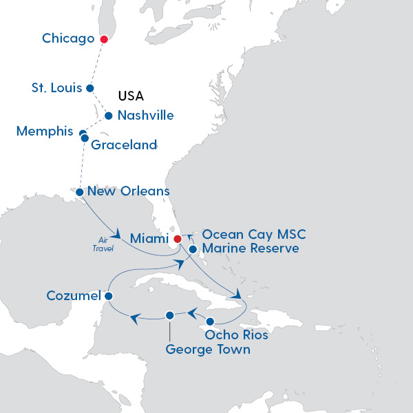 Deep South and Caribbean Seaside Map