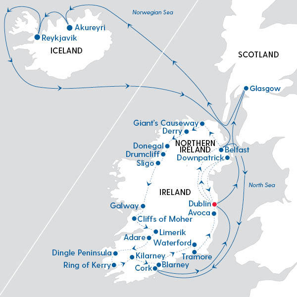 Best or Ireland and Iceland Route Map