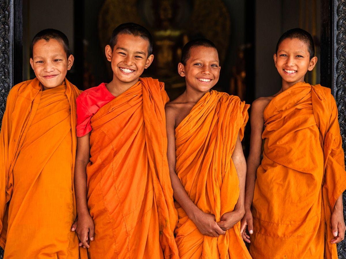 Group of happy Novice Buddhist monks, Bhaktapur