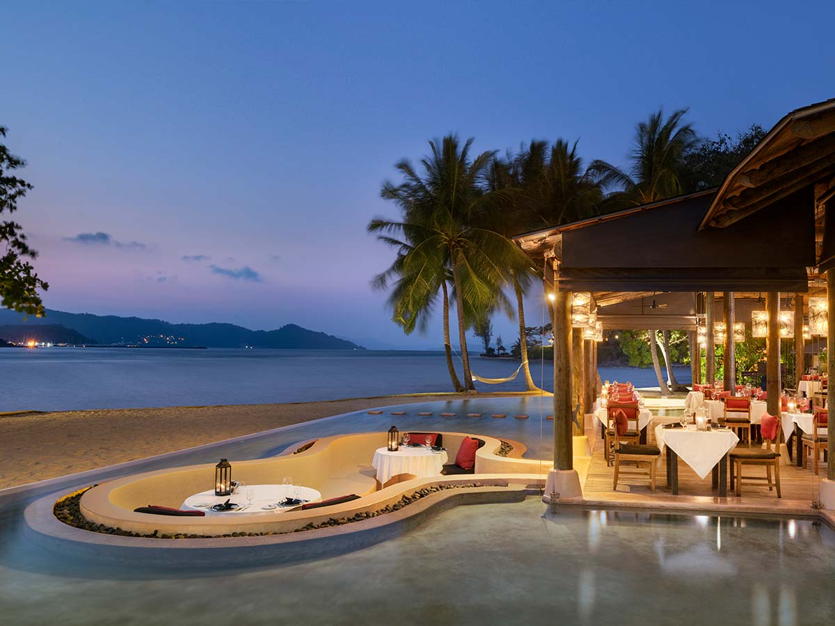 The Naka Island, A Luxury Collection Resort & Spa Phuket grill at twilight