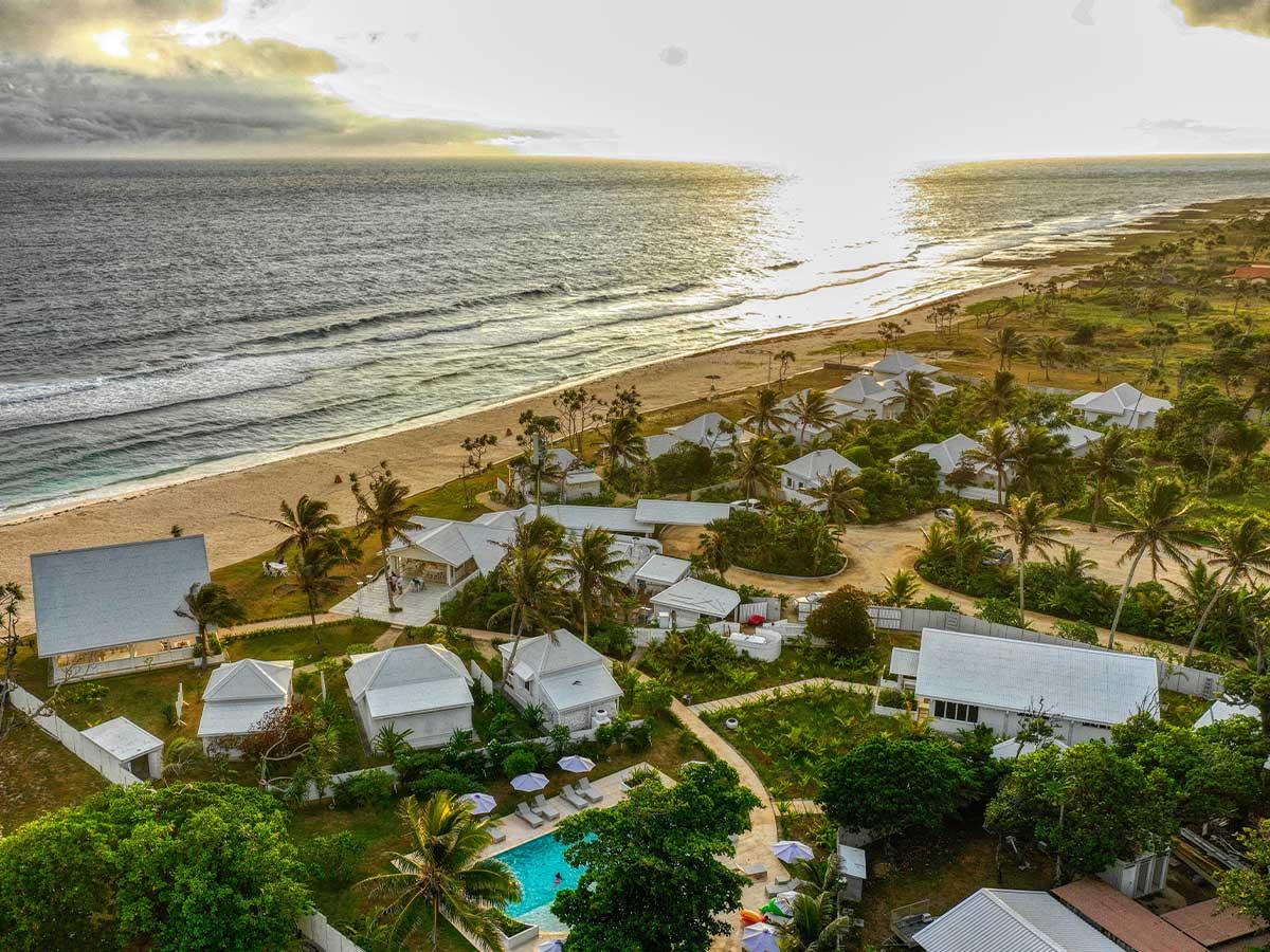 tamanu on the beach aerial view