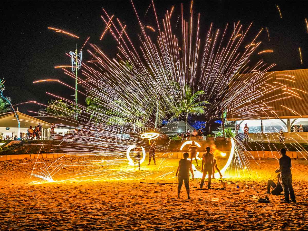 tamanu on the beach fire show
