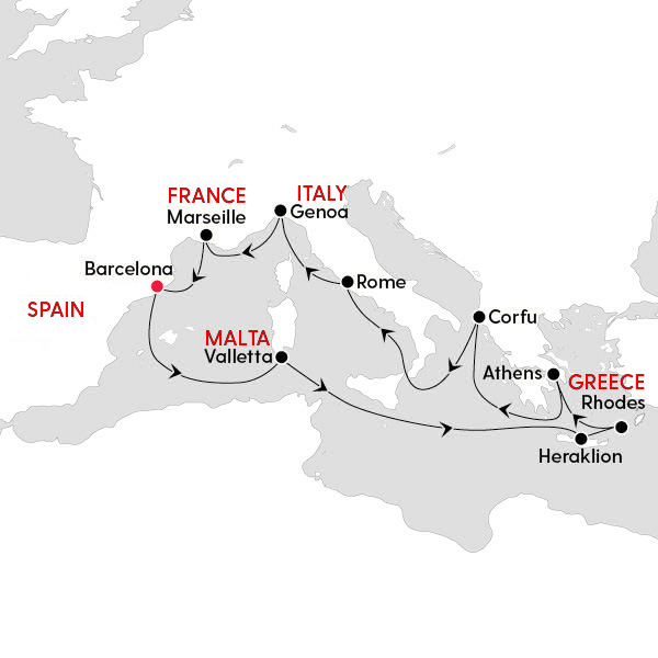 MSC Mediterranean Journey Route Map